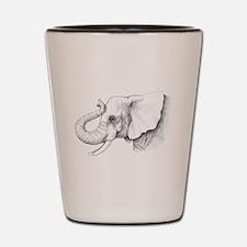 Elephant profile drawing Shot Glass