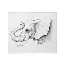 Elephant profile drawing Throw Blanket