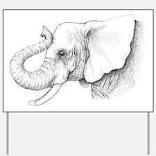 Elephant profile drawing Yard Sign