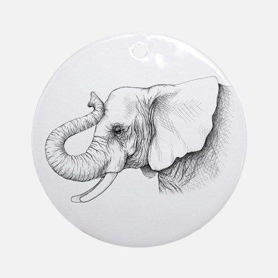 Elephant profile drawing Ornament (Round)