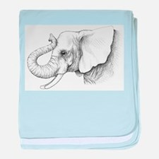 Elephant profile drawing baby blanket