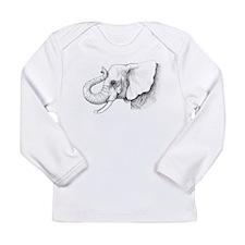 Elephant profile drawing Long Sleeve Infant T-Shir