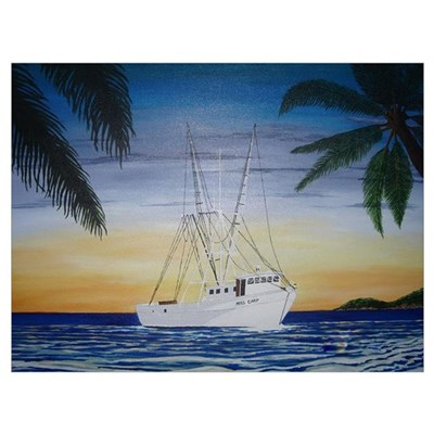 Shrimp Boat in Paradise Canvas Art