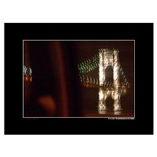 George Washington Bridge at night Framed Print