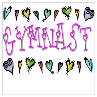 Gymnast Hearts Framed Print