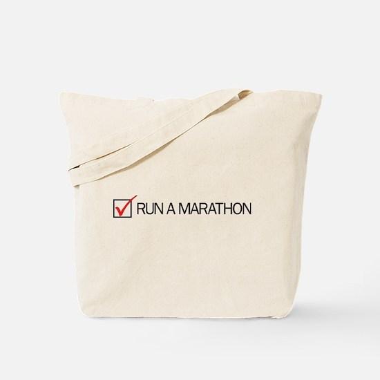 Run a Marathon Check Box Tote Bag