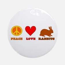 Peace Love Rabbits Ornament (Round)