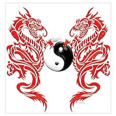 Yin Yang Dragons Poster