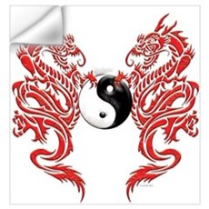Yin Yang Dragons Wall Decal