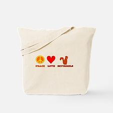 Peace Love Squirrels Tote Bag