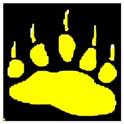 YELLOW BEAR PAW ON BLK Poster