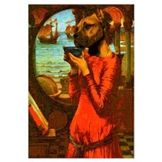 Thinking Dog Woman Canvas Art