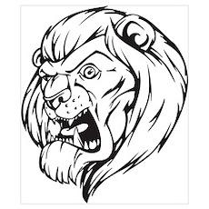 Lion Mascot (Black) Poster