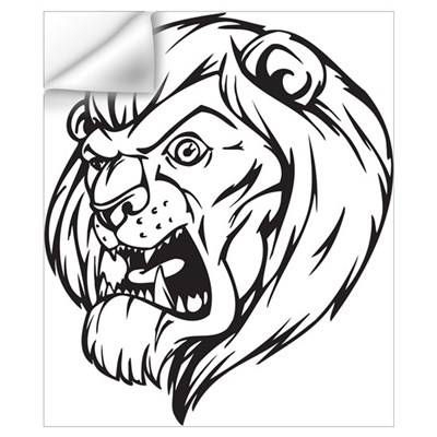Lion Mascot (Black) Wall Decal