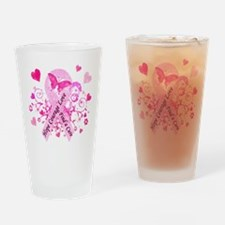 Pink Ribbon with Love Drinking Glass