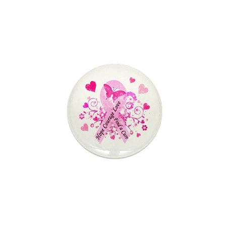 Pink Ribbon with Love Mini Button (10 pack)