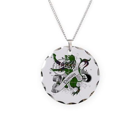 Duncan Tartan Lion Necklace Circle Charm