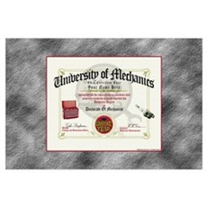 Mechanic Diploma PERSONALIZED Poster
