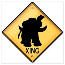 Woolly Mammoth Crossing Sign Poster