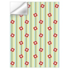 Retro Floral Stripe Wall Decal