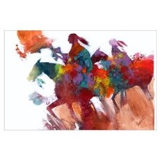 Abstract Native Americans on Horseback Print Poster