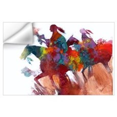 Abstract Native Americans on Horseback Print Wall Decal
