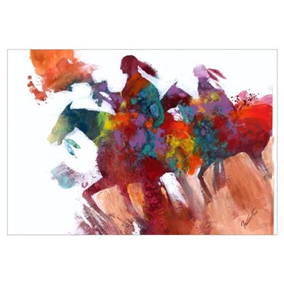 Abstract Native Americans on Horseback Print Framed Print