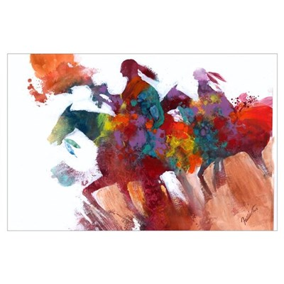 Abstract Native Americans on Horseback Print Poster