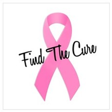 Pink Ribbon Find The Cure Poster
