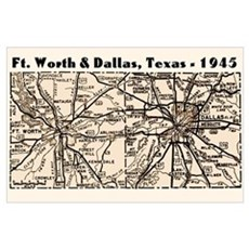 1945 Dallas/Ft Worth Map Poster