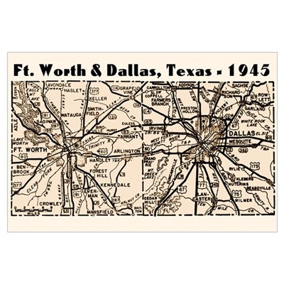 1945 Dallas/Ft Worth Map Canvas Art