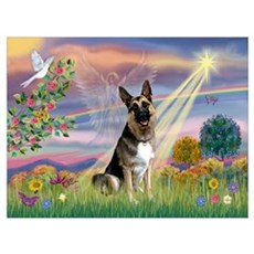 Cloud Angel & German Shepherd Poster