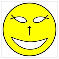 Jesus Happy Face Poster