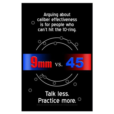 (11x17): 9mm vs. 45 Poster