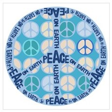 Aqua Peace On Earth Sign Poster