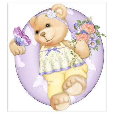 Teddy Alphabet O Purple Poster