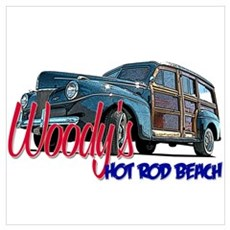 Woody Hot Rod Beach Poster