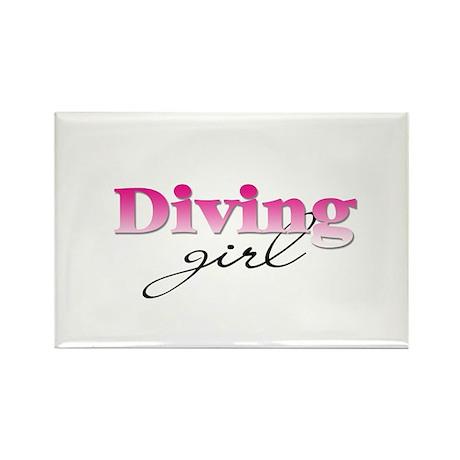 Diving girl Rectangle Magnet