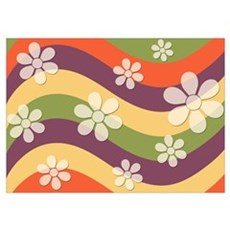 Floral Striped Hippie Art Poster