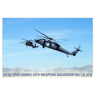 """35"""" x 23"""" HH-60 Pave Hawks 34th Poster"""