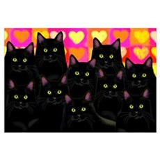 Black Cats Love Framed Print