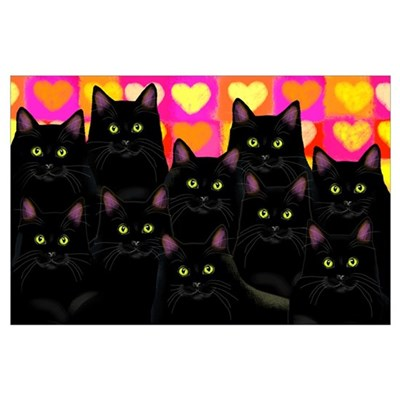 Black Cats Love Poster