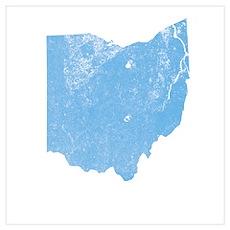 Vintage Grunge Baby Blue Blue Poster
