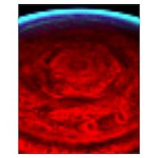 Saturn Polar Hexagon Poster