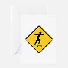 Warning : Skateboarder Greeting Card