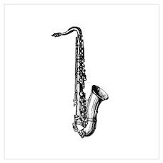 Woodcut Saxophone Poster