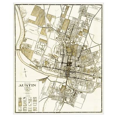 1925 Austin Texas Map Poster