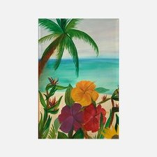 Tropical Floral Beach Rectangle Magnet