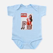 Wink Vintage Brunette Pin Up in Red Infant Bodysui