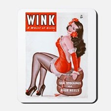 Wink Vintage Brunette Pin Up in Red Mousepad